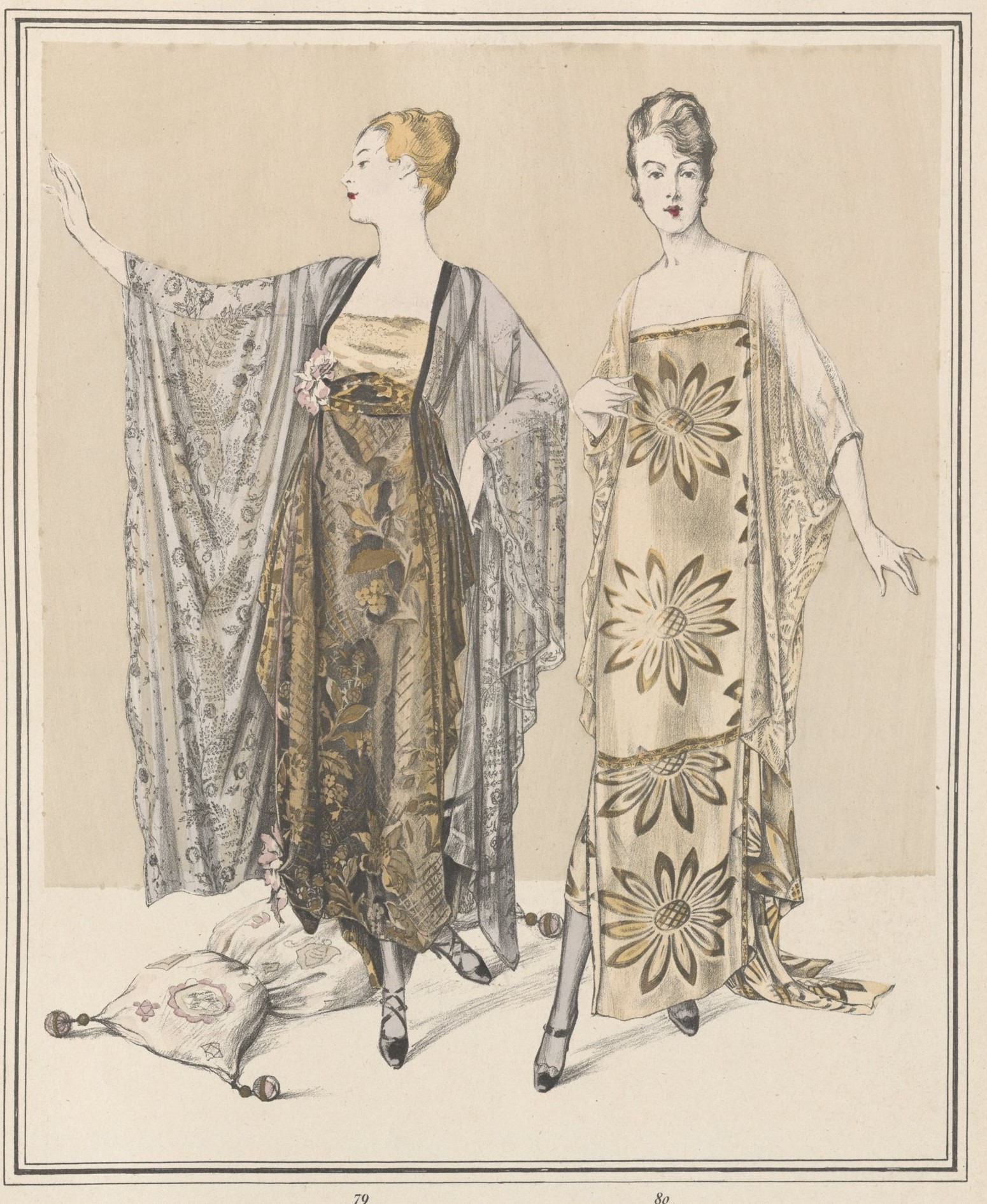 Evening dresses by Callot showcasing Lyon silk brocades