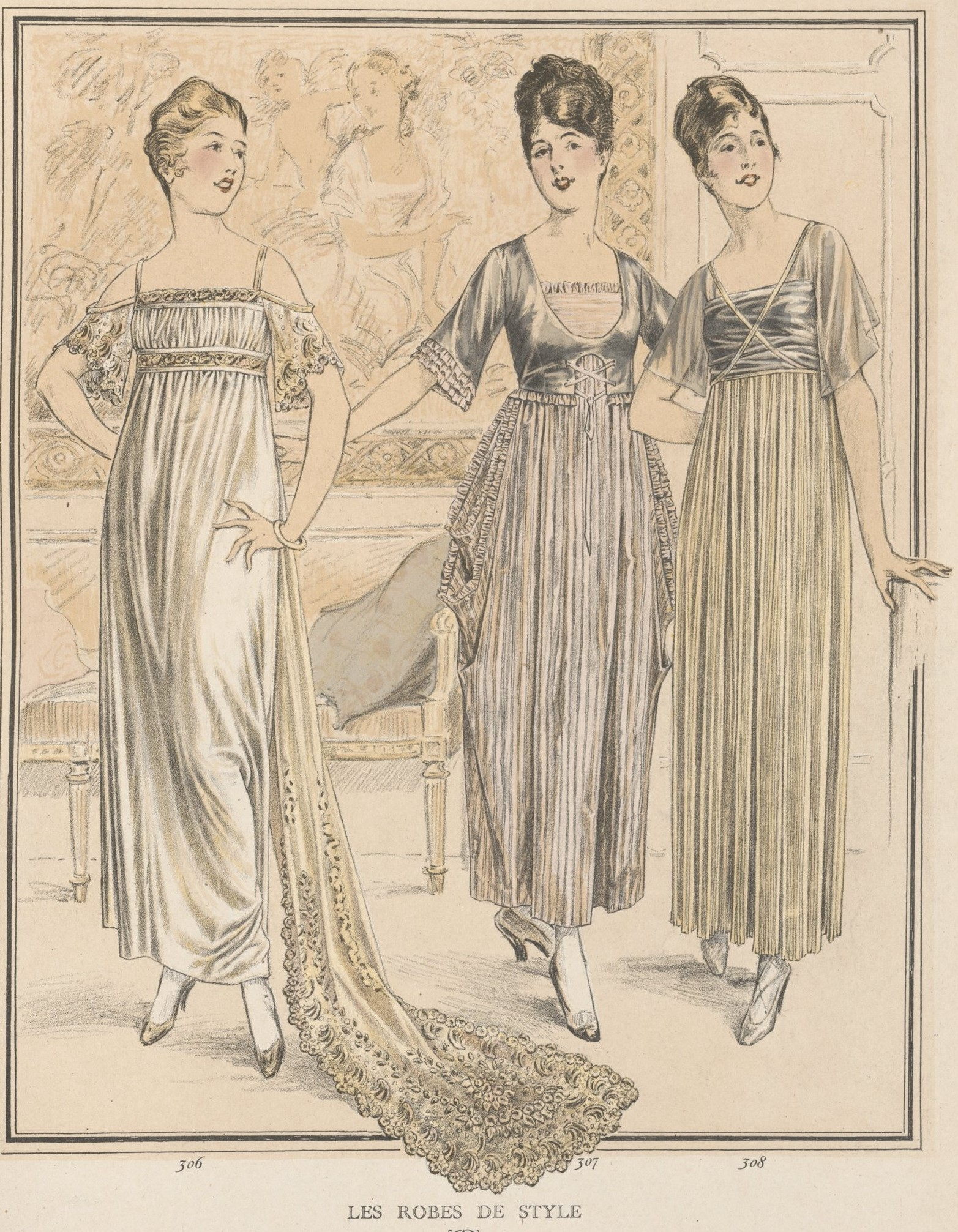 Evening dresses referencing 'Ancien Regime' and 'Empire' styles