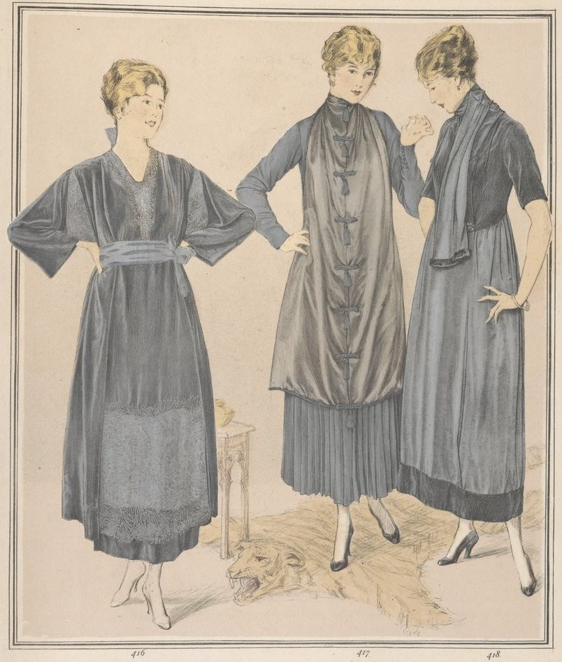 Ensembles by Jean Lanvin showing apron panels and a raglan-shouldered waistcoat