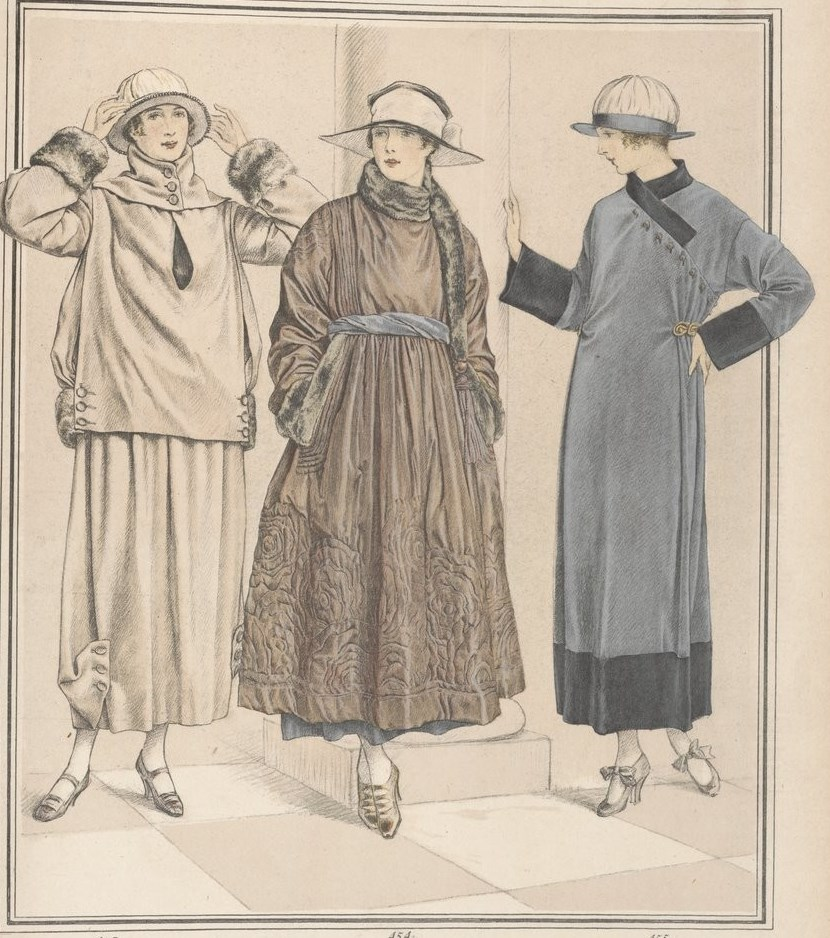 Three ensembles by Poiret showing the new trends for Winter 1917