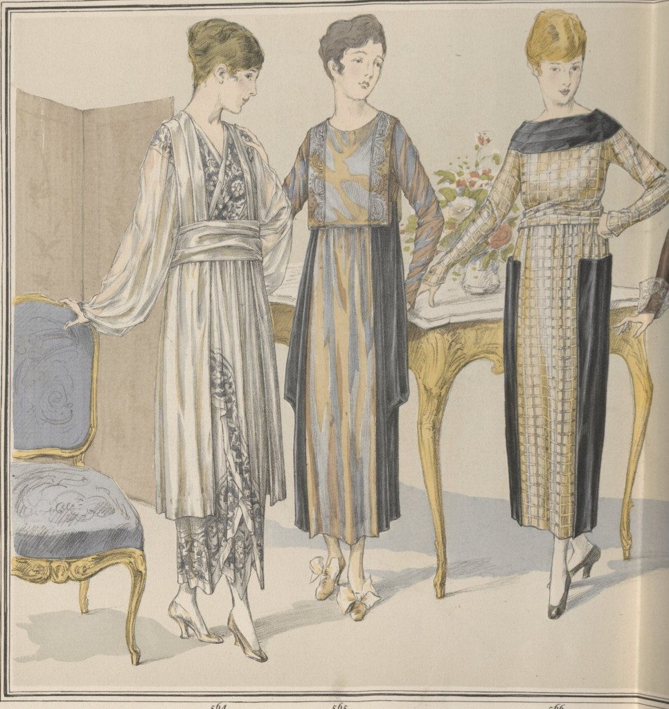 Afternoon dresses in rich fabrics, showing a variety of influences