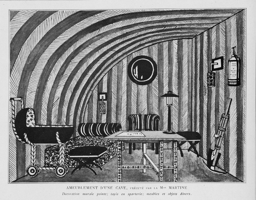 A cellar fitted out as an air-raid shelter by Poiret's Maison Martine