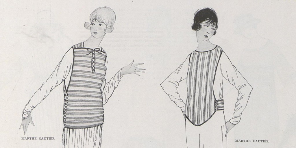 Waistcoats in striped silk tricot by Marthe Gauthier