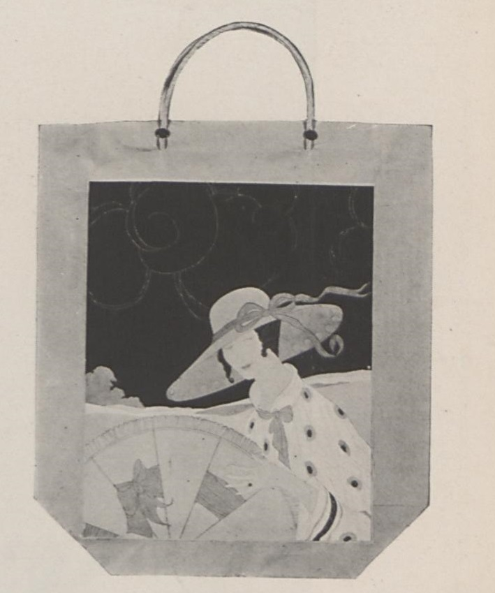 A paper bag decorated with a Vogue cover