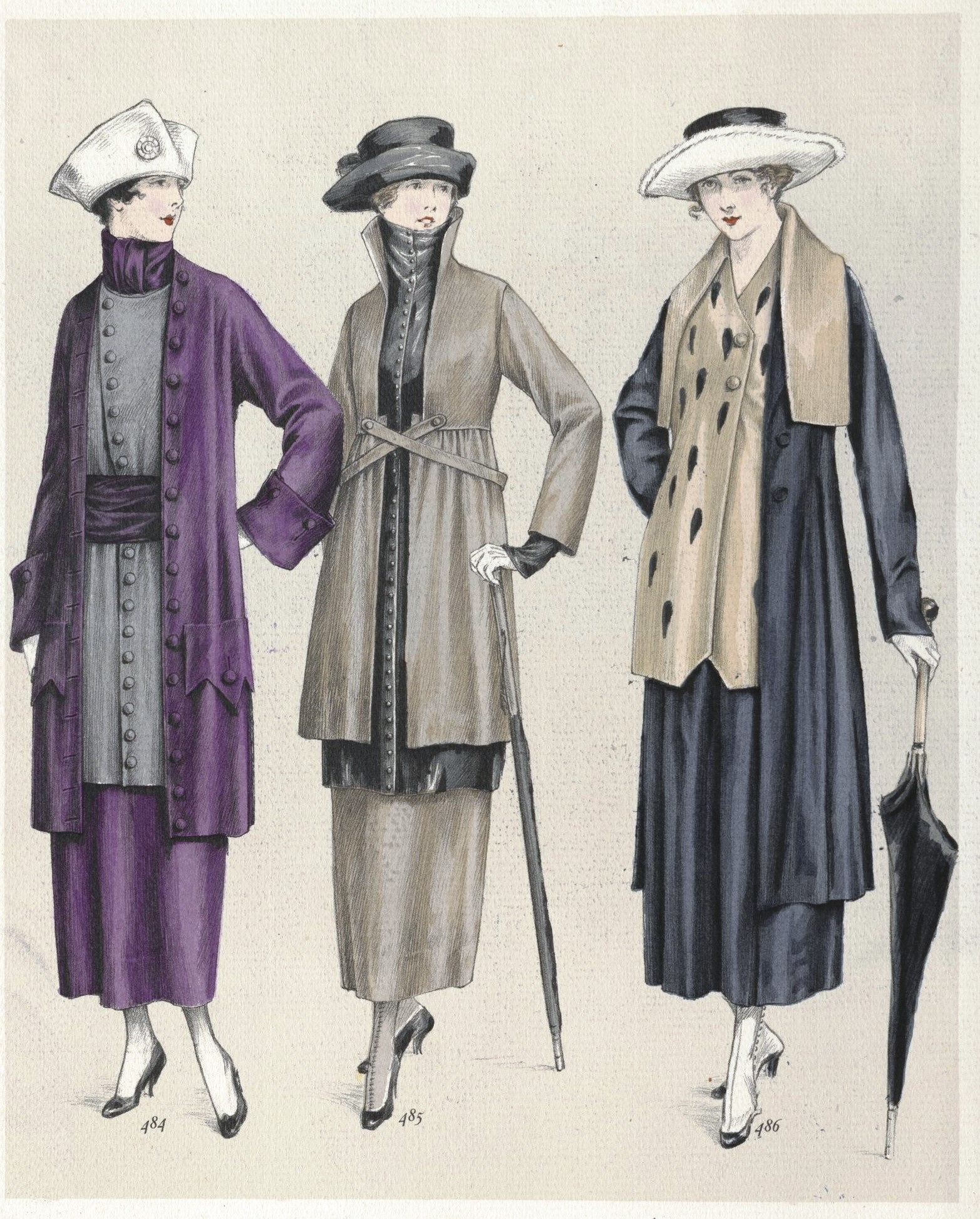Tailored ensembles - the one on the right by Jenny - showing eighteenth century influences